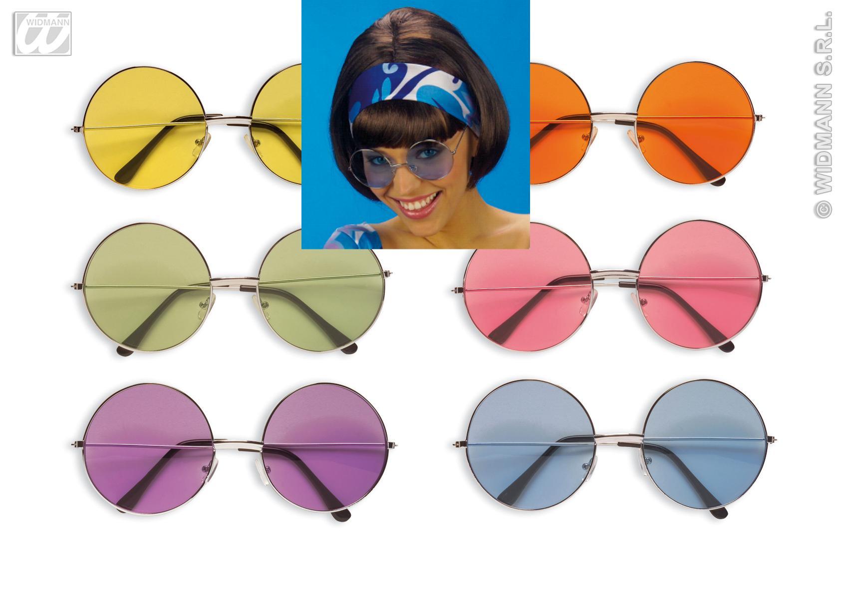 Hippie Brille,60er-70er, RUND Sonnenbrille  Mottoparty gelb grün lila blau...